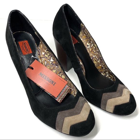 Missoni Suede Pump Heels Black Size 8.5